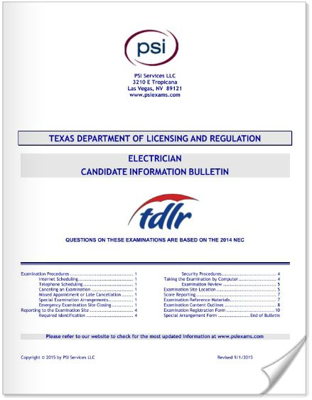 PSI Candidate Informational Bulletin for Electricians in Texas