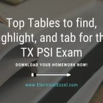 Top Tables to find, highlight, and tab for the TX PSI Exam Download your homework now