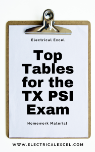 Top tables for the TX PSI exam